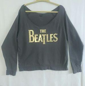 Sweaters - Grey & Gold Beatles Off Shoulder Scoop Sweatshirt